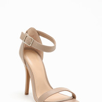 NUDE LEATHERETTE ANKLE STRAP HEELS