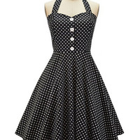 Polka Dot Button Halter Backless Sheath Tent Mini Dress