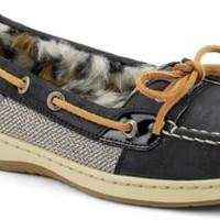 Sperry Top-Sider Angelfish Fur Lined Boat Shoe Black/LeopardFur, Size 5M  Women's