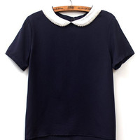 Chiffon Pearl Peter Pan Collar Short Sleeve Top