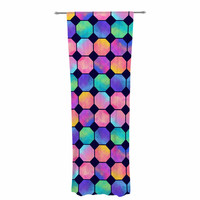 """Noonday Design """"Colorful Watercolor Octagons"""" Watercolor Abstract Decorative Sheer Curtain"""