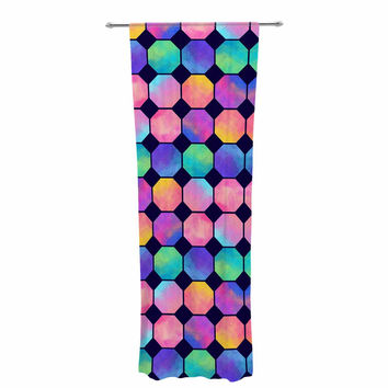 "Noonday Design ""Colorful Watercolor Octagons"" Watercolor Abstract Decorative Sheer Curtain"