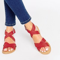 ASOS FREEWHEEL Leather Woven Sandals