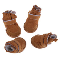 Non-slip Shoes Dog Cotton Shoes Waterproof Warm Winter Dog Shoes Teddy Pet Thick Soft Bottom Khaki/Pink Snow Boots