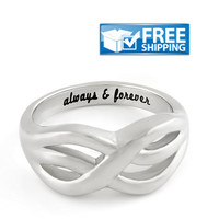 """Love Gift - Double Infinity Symbol Couples Ring Engraved on Inside with """"Always&Forever"""", Sizes 6 to 9"""
