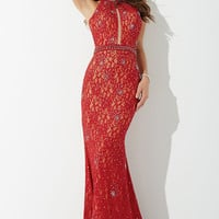 Red Beaded Lace Prom Dress 26927