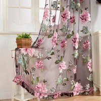 2Pcs Elegant Window Curtain Transparent Peony Flower Windows Panel Balcony Living Room Decor Hot Sale