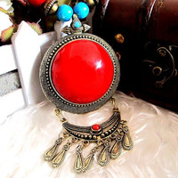 Red Gem Stone Vintage Bohemia Copper Wood Style Bead Lucite Gem Necklace Pendant