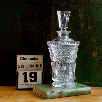 Vintage Lead Crystal Glass Decanter, Beveled, Tall Stopper, Cottage Decor