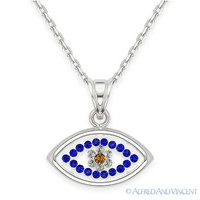 Evil Eye Crystal Bead Pendant Turkish Greek Hamsa Charm Sterling Silver Necklace