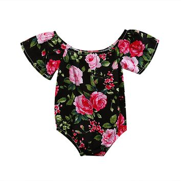 born Infant Baby Girl Short Sleeve Floral Romper Jumpsuit Outfit