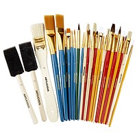 Artlicious - 25 All Purpose Paint Brush Value Pack - Great with Acrylic, Oil, Watercolor, Gouache