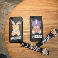 """Moschino"" Couple Cute Cartoon Letter Bear Cub Print iPhoneX/8/6S Soft Silica Gel Phone Case iPhone7 Plus Lanyard Phone Shell"