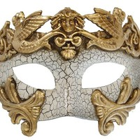 RedSkyTrader Mens Aged Finish Greek Venetian Mask One Size Fits Most Gold