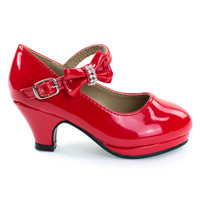 Dana62K Red Patent By Forever Link, Girly Round Toe Pump w Low Heel & Rhinestone Bow, Kids Children