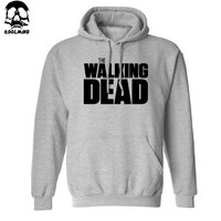 Thick Material cotton blend the walking dead men Hoodies with hat fleece casual loose TWD mens hoodies and sweatshirts 2016