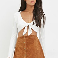 Genuine Suede Buttoned Skirt