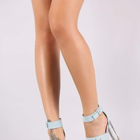 Qupid Denim Triple Strap Clear Glitter Heel