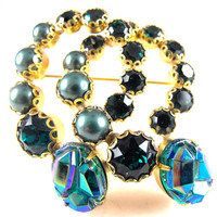 Signed Schiaparelli Brooch Iconic Designer Geode Glass Cabs Greens Blues Gold Tone