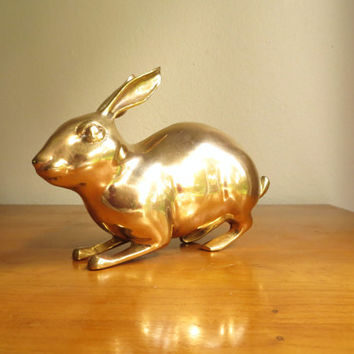 Brass Rabbit Bunny Vintage Statue Animal Doll Metal Figure Miniature Gift Tiny
