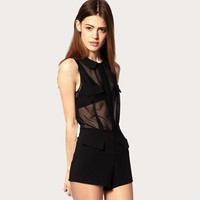 See Through Lace Black Design Jumpsuit [6049298881]