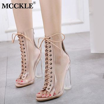 MCCKLE New Women Peep Toe Transparent Ankle Boots Lace Up Ladies Super High Heels Zipper Autumn Fashion Female Jelly Shoes