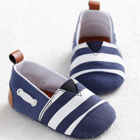 2015 Classic Leisure Handsome Newborn Baby Boys Kids First Walkers Shoes Infant Babe Crib Soft Bottom Striped Loafer Shoes
