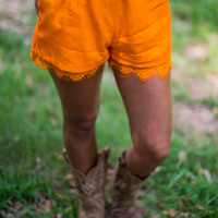 Lace Trim Gameday Shorts in Orange