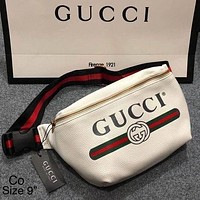 Gucci sells male and female letters printed Wais tbag zipper straddle bag White