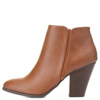 City Classified Chunky Heel Booties by Charlotte Russe - Tan