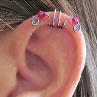 """No Piercing Cartilage Cuff """"Crystal Double Up"""" Ear Cuff 1 Cuff COLOR CHOICES"""