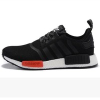 PEAPON Adidas' Women Men Trending NMD Running Sports Shoes Black (white-red soles)