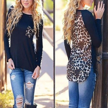 Womens Fashion Leopard Print Chiffon Blouse Long Sleeve  Plus size T-shirt Tops = 1956835460