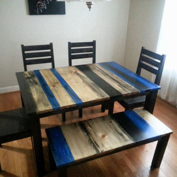 Rustic Distressed Dining Room Set / Rustic Dining Set / Rustic Kitchen Set
