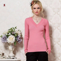 V-Neck Knitted Long Sleeve Top
