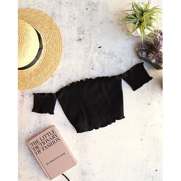 Reverse - Pretty Lady Ribbed Crop Top in Black