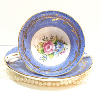 English Bone China Tea Cup, Grosvenor, Periwinkle, Blue, Hand Painted, Signed, Roses, Lacy Gilding, 1950s