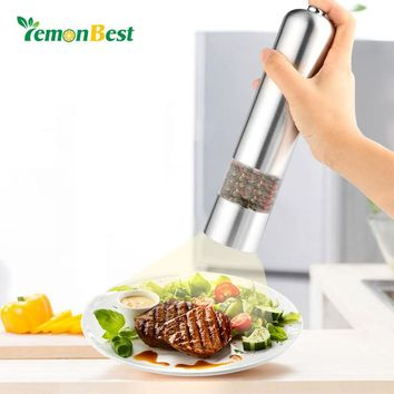 Automatic Electric Pepper Grinder Stainless Steel Salt Mill Ceramic Rotor Fine to Coarse Adjustable Kitchen Tools