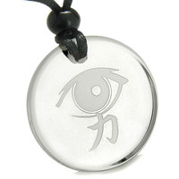 Amulet All Seeing Mystic Eye Kanji Strength Power Magic Energies Quartz Pendant Necklace