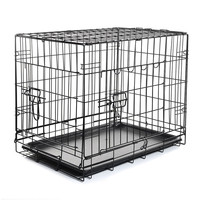"""2 Door Pet Folding Dog Cat Crate Cage Kennel w/ABS Tray (black, 24"""" Pet Folding Cage)"""