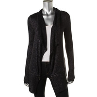 Kenneth Cole New York Womens Metallic Open Front Cardigan Sweater