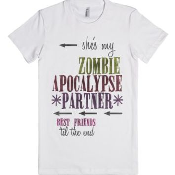 Zombie Apocalypse BFF (Right Side)-Female White T-Shirt
