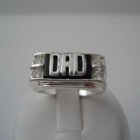 Sterling Silver 925 Cubic Zirconia Onyx Dad Ring Size 11 RJ 925 CZ