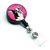 Boston Terrier Retractable Badge Reel or ID Holder with Clip