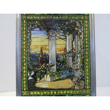 A Stained Glass Floral Garden Columns Window Panoramic Impressionist