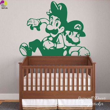 Super Mario party nes switch Cartoon  Wall Sticker Boy Room Baby Nursery Anime Super Brother  Wall Decal Kids Room Sofa Vinyl Home Decor Art Mural AT_80_8