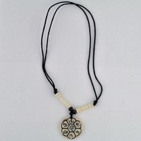 Lotus Flower Bone Pendant Necklace