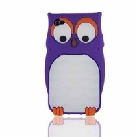 Purple Cute Owl Animal Silicone Case for Iphone 4 & 4S