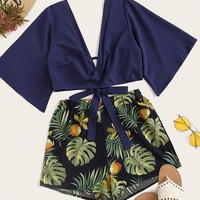 Tie Back Plunging Neck Top & Tropical Print Shorts