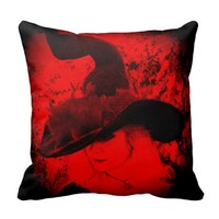 Red Witch Pillow Pagan Wiccan Cushion